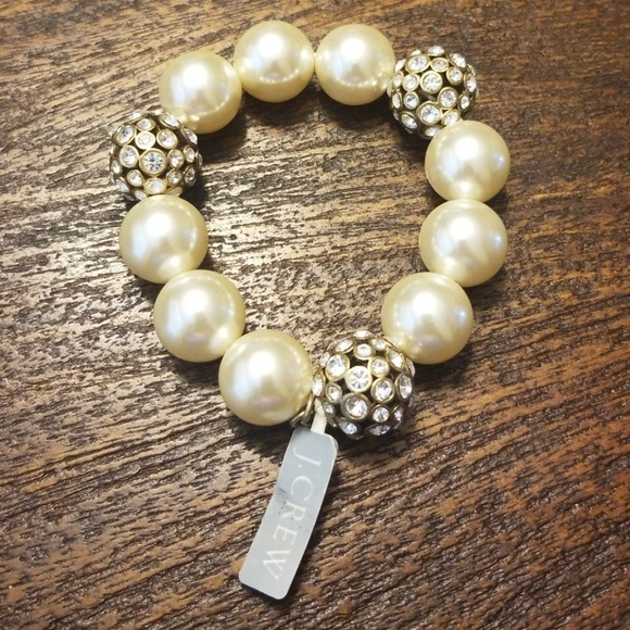 J Crew Jewelry Gorgeous Pearl Rhinestone Gold Bracelet By Jcrew